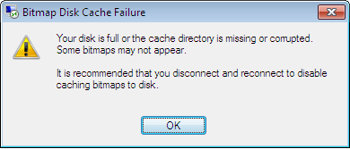 bitmap disk cache failure