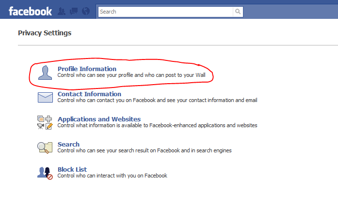 privacy settings on Facebook profile