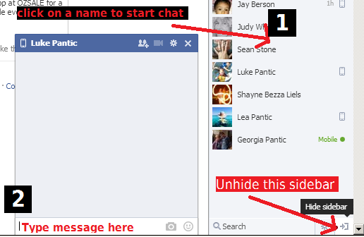 start facebook chat session