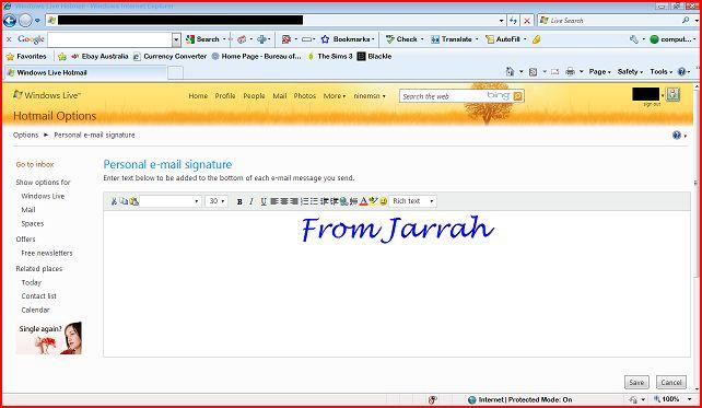 make a signature - hotmail