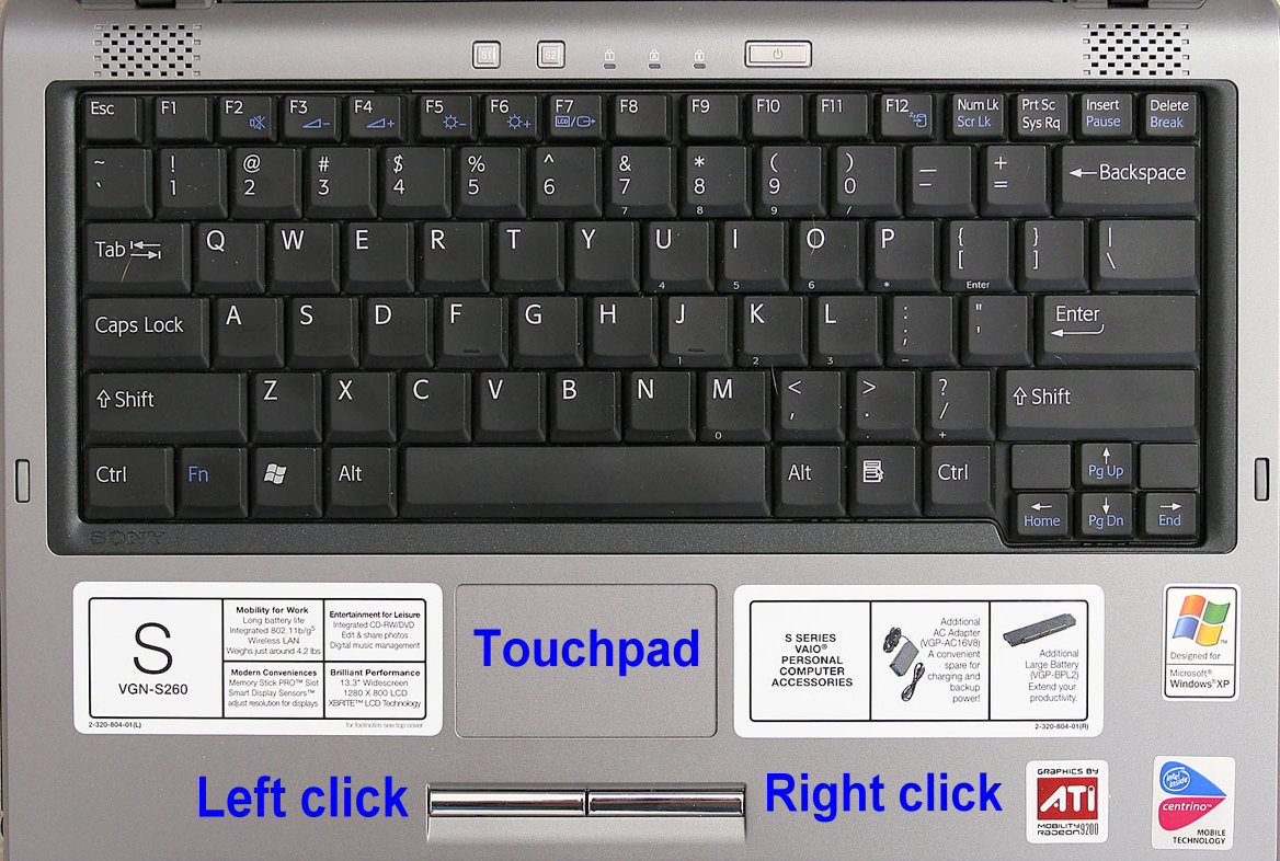 Laptop touchpad left click, right click