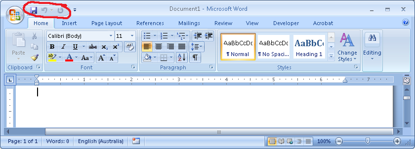 quick access toolbar - word 2007