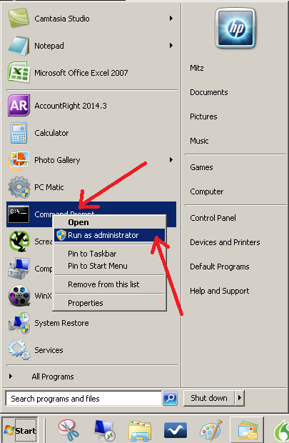 run as admin start menu