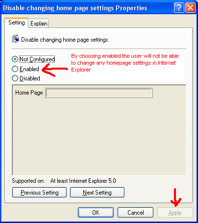 disable changing home page settings properties