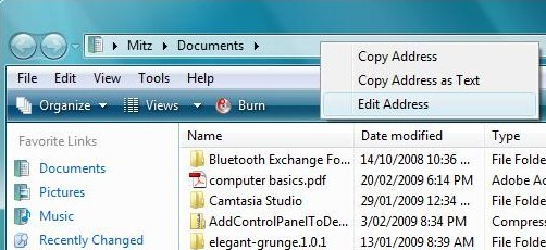 folder path in Windows Vista