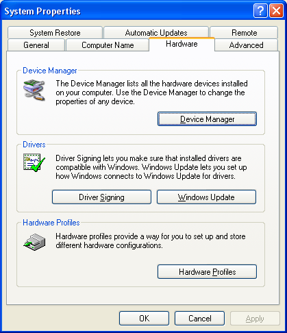 device manager, system properties box