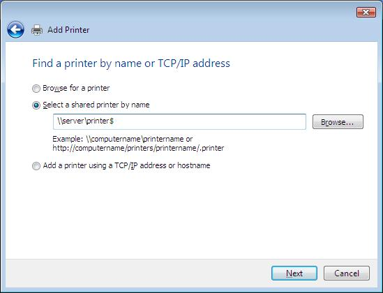 find a network printer