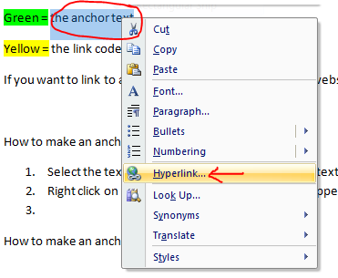anchor text in word 2007