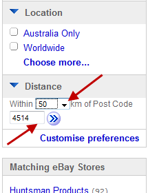 search in Ebay - within a distance