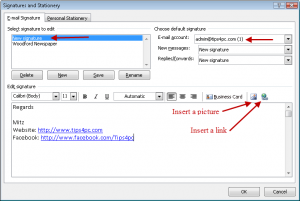 Insert an email signature outlook 2007- Create email signatures