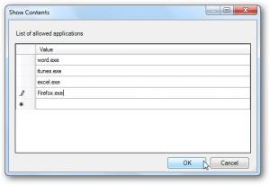 list programs to specify