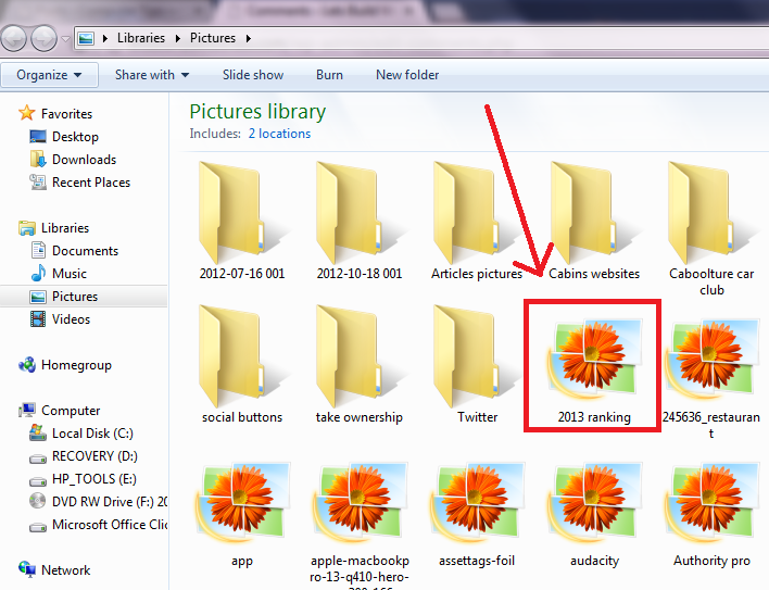 thumbnail not showing in picture folder