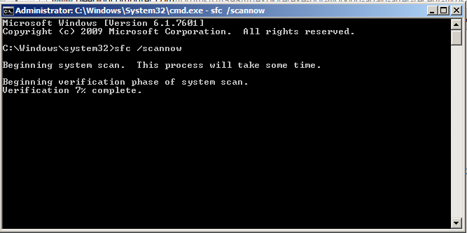 SFC / SCANNOW in dos command
