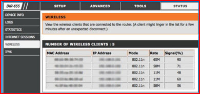number of wireless clients