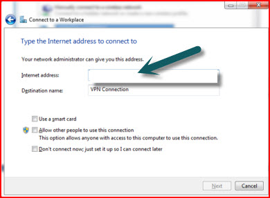 computer name or IP address VPN windows 7