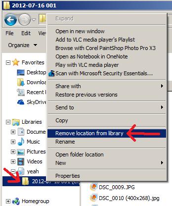 libraries windows 7 remove