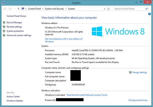 System Properties Windows 8