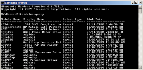 tips komputer driverquery