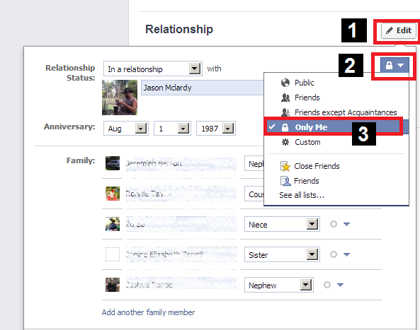 how to hide your relationship status