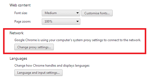 google chrome network settings
