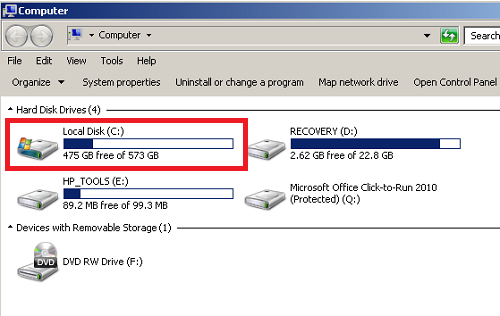 hard drive space for installing software