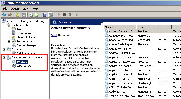 open services in windows