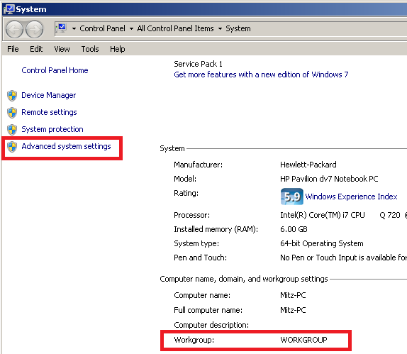 advanced system settings windows seven