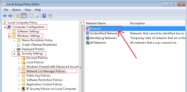 manage network policy location