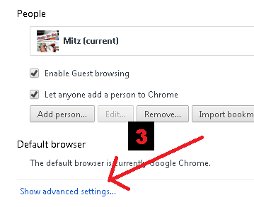 show advanced settings in chrome
